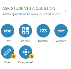 Ask students a question adds question to your current slide